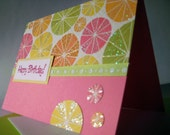 Happy Birthday - Pink and Citrus - Blank Greeting Card
