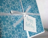 Blue and White Birthday Gift Card