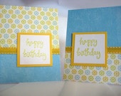 Blue, Yellow. and Green Flowers Birthday Card Pair