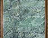 Green Marble - Original Painting and Block Printing on Paper
