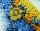 Jewel Tones Golden Yellow and Sapphire Blue Crochet Scarf OOAK Convertible Button Up Scollar Style Scarflette .. Airpark Lagoon ..