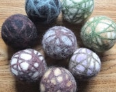 Felted Wool Dryer Balls . Three Unscented Handcrafted Balls, Random Colours
