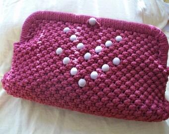 Cranberry Macrame Clutch Purse Handbag