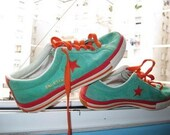 Reduced Punkrock skater surfer hipster Converse One Star low top shoes Green and Orange rare 6.5