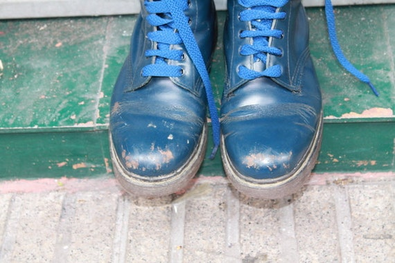 RESERVED LISTING  for Cat Moving Sale Blue Vintage Kubok Limited Spanish Rare boots Punkrock Oii Grunge