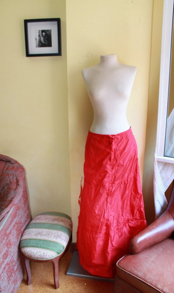 Moving Sale YIKES Retro Long Red Parachute style skirt