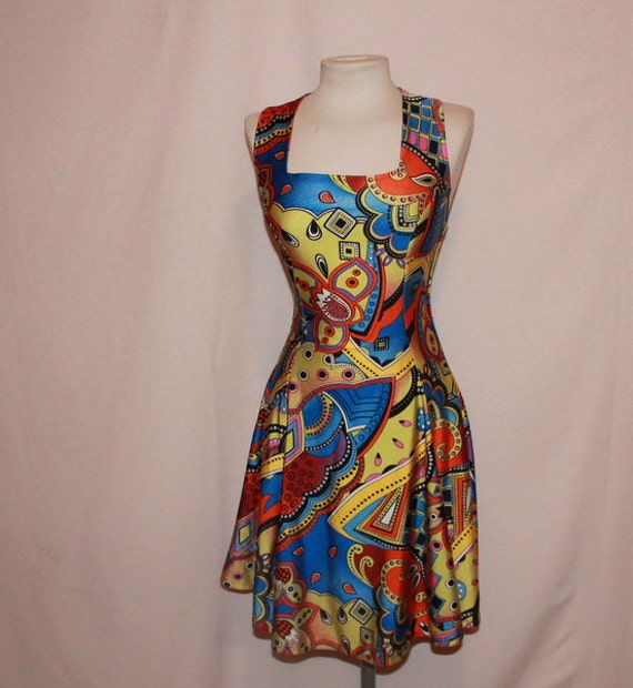 Carribean Bream Amazing vintage colorful spanish summer dress Small X Small