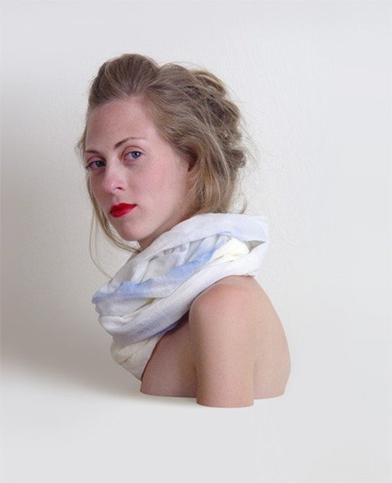hand painted scarf Blue layers