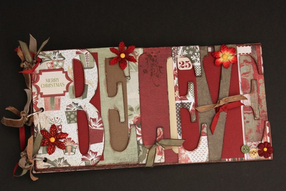 Christmas word album, premade photo album for Xmas, word chipboard album, red and green, holiday memories, holiday shopping, gift idea