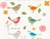 CLIP ART - Sewn Birds Collection - for commercial and personal use
