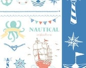 CLIP ART and Photoshop Brushes  - Nautical Collection - for commercial and personal use