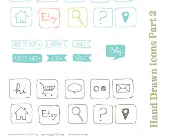 CLIP ART - Hand drawn icons part 2 - for commercial and personal use