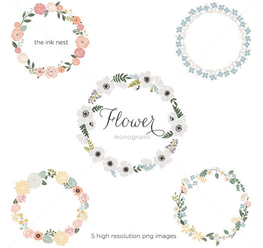 Shop Floral Monograms At Littlebrownnest Etsy Com: CLIP ART Flower Monograms For Commercial And Personal Use