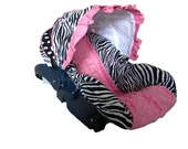 Baby Car Sear Cover, Infant Car Seat Cover, Slip Cover- Zebra & Dot with Pink Minky