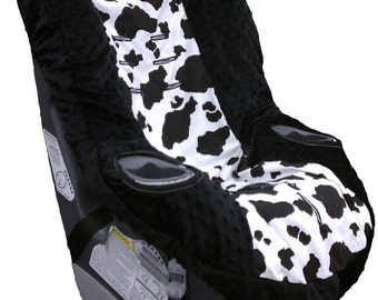 Cow & Black Minky Car Seat Cover for Graco myRIDE 65 or 70