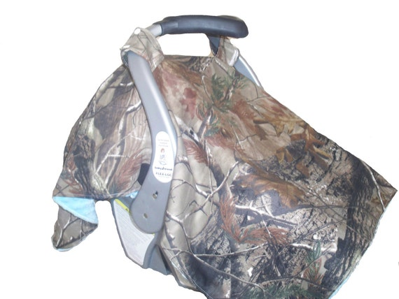 Camo & Light Blue Infant Carseat Hanging Cover