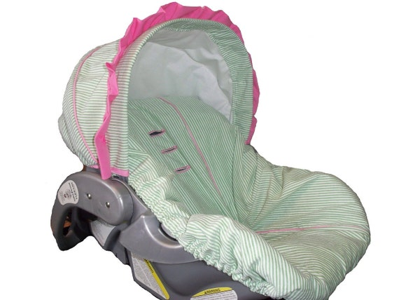 Baby Car Sear Cover, Infant Car Seat Cover, Slip Cover- Lime Green Seersucker Stripe & Pink