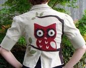 Sweet Cropped Owl Jacket-Upcycled Tan Corduroy Coat
