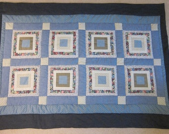 Blue Squares (Baby Quilt)-QuiltsbyShirley