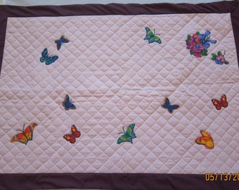 Colorful Butterflies (Baby Quilt)- QuiltsbyShirley