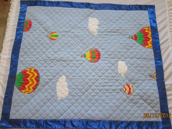 Hot Air Balloons on Blue Gingham (Baby Quilt)-QuiltsbyShirley