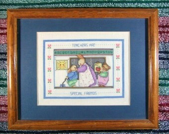 Hand cross stitched and framed sampler, Teachers are Special Friends