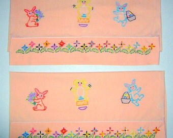 2 hand embroidered standard Easter pillowcases