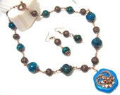 Turquoise, chrysocolla and cooper Vintage style Necklace and earrings set OOAK