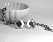 Two Image Engraved Charms on a Tiffany Style Bracelet