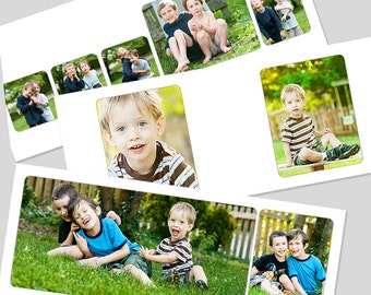 horizontal 8x10 rounded corner album template for miller's lab layflat albums - simple, classic layout - for photographers