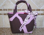 The Pink and Brown Giraffe Toddler Tote