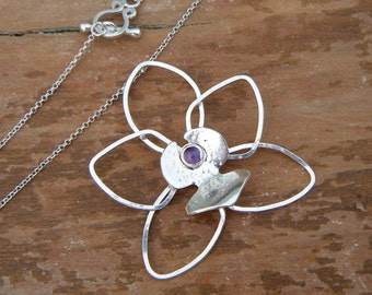 Amethyst Orchid Pendant, Sterling Silver, Handmade