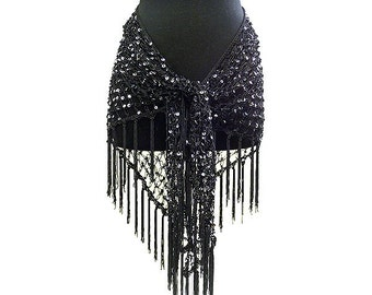 Belly Dance Sequin Crochet Hip Scarf and Shawl
