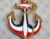 Anchor Pin 1970's Red, White & Blue retro Patriotic Nautical Sailor brooch