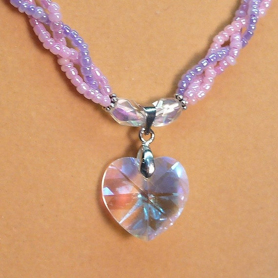 Faceted Glass Heart pendant fashion necklace with braided seed bead chain OOAK