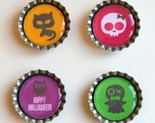 Happy Halloween owl, girl skull, ghost & cat colourful set of four bottlecap magnets