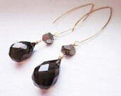 Katherl Earrings, Smoky teardrop briolette and natural pyrite dangle earrings