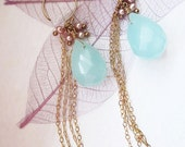 Mia Earrings, Large Turquoise and Fringe Earrings