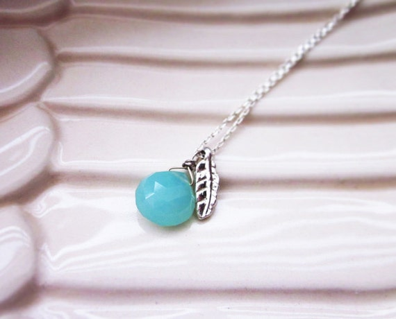 SALE - Matilde Necklace, Sea Blue Chalcedony  Briolette and Feather Charm Necklace