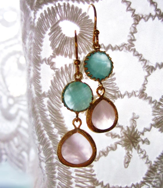 Sophia Earrings, Turquoise and Pink Dangle Earrings, Teal and Rose Earrings, Gold