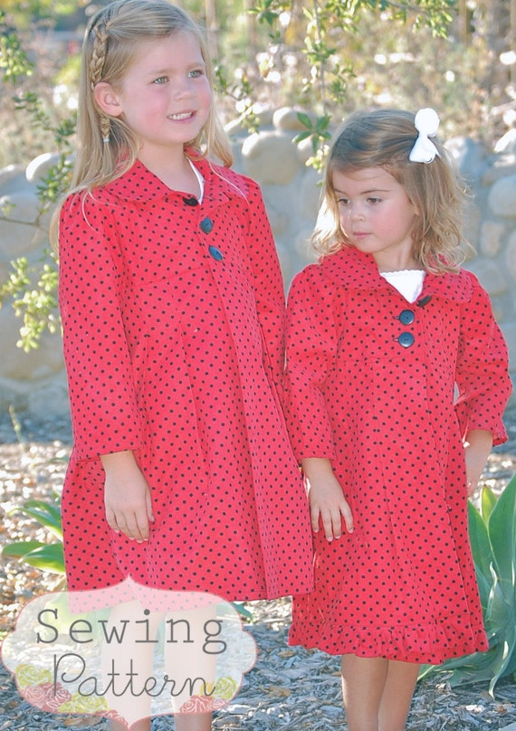 INSTANT DOWNLOAD- Charlotte Coat (Sizes 1 to 6) PDF Sewing Pattern and Tutorial