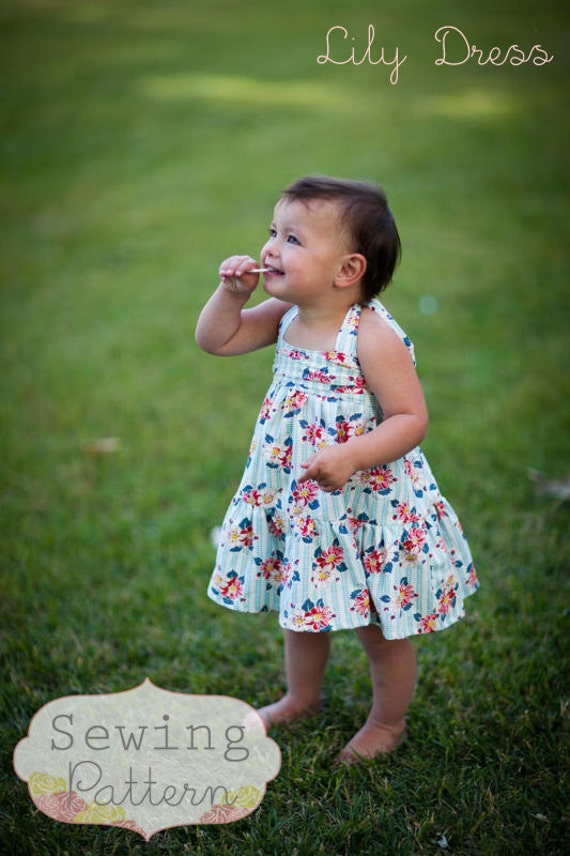 INSTANT DOWNLOAD- Lily Halter Dress (Sizes 9/12 mos to Size 6) PDF Sewing Pattern and Tutorial