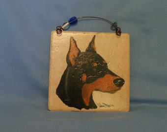 Hand painted Italian tile - Doberman