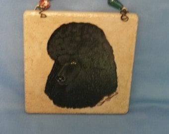 Hand painted Italian tile - Poodle