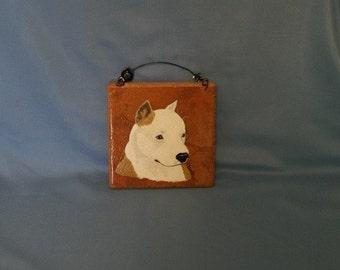 Hand painted Italian tile - Staffordshire Bull Terrier