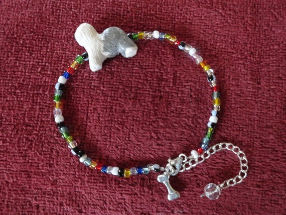 Old English Sheepdog Anklet -Hand sculpted dog bead