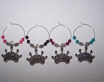 Princess Wine Charms / Tiara Wine Charms / Princess Drink Markers / Wine Glass Charms