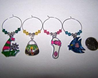 Tropical Wine Glass Charms / Beach Wine Charms / Sailboat Wine Glass Charms