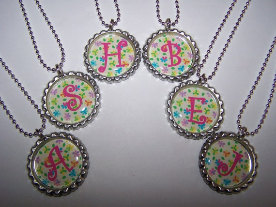 Flower Initial Personalized Bottle Cap Necklaces Girls Birthday Party Favors Silver Ball Chain