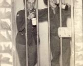 WWII Military Men In SEATTLE JAIL Drinking Studio Prop Photo Postcard Circa 1945